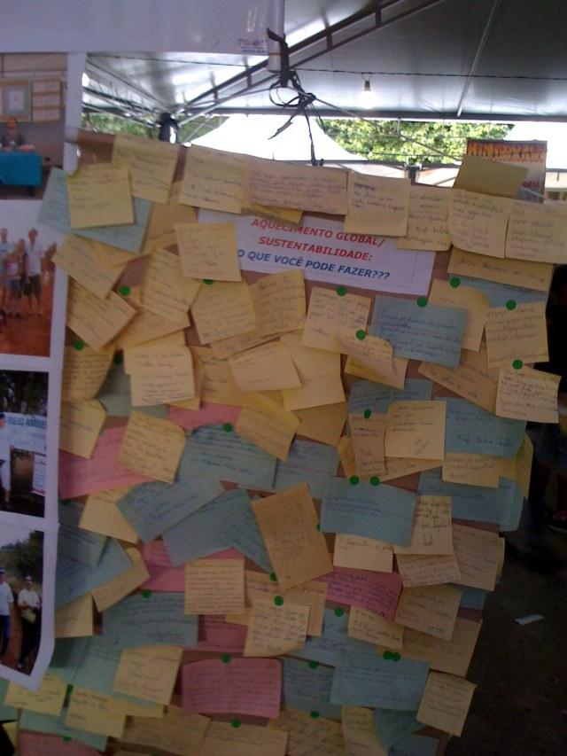 Mural com sugestões de ações em prol da sustentabilidade do meio ambiente